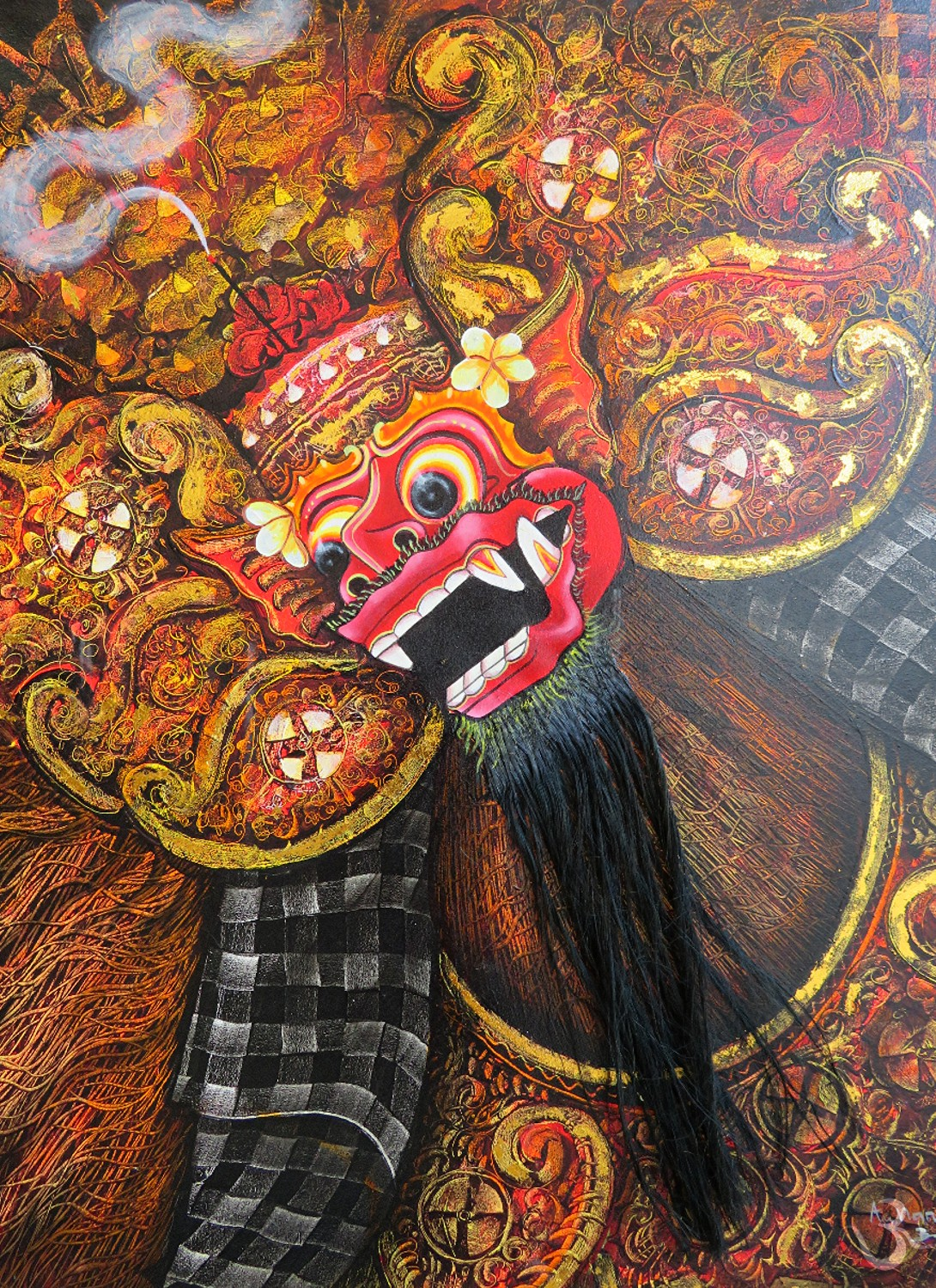 Barong Ketet painting with real hair