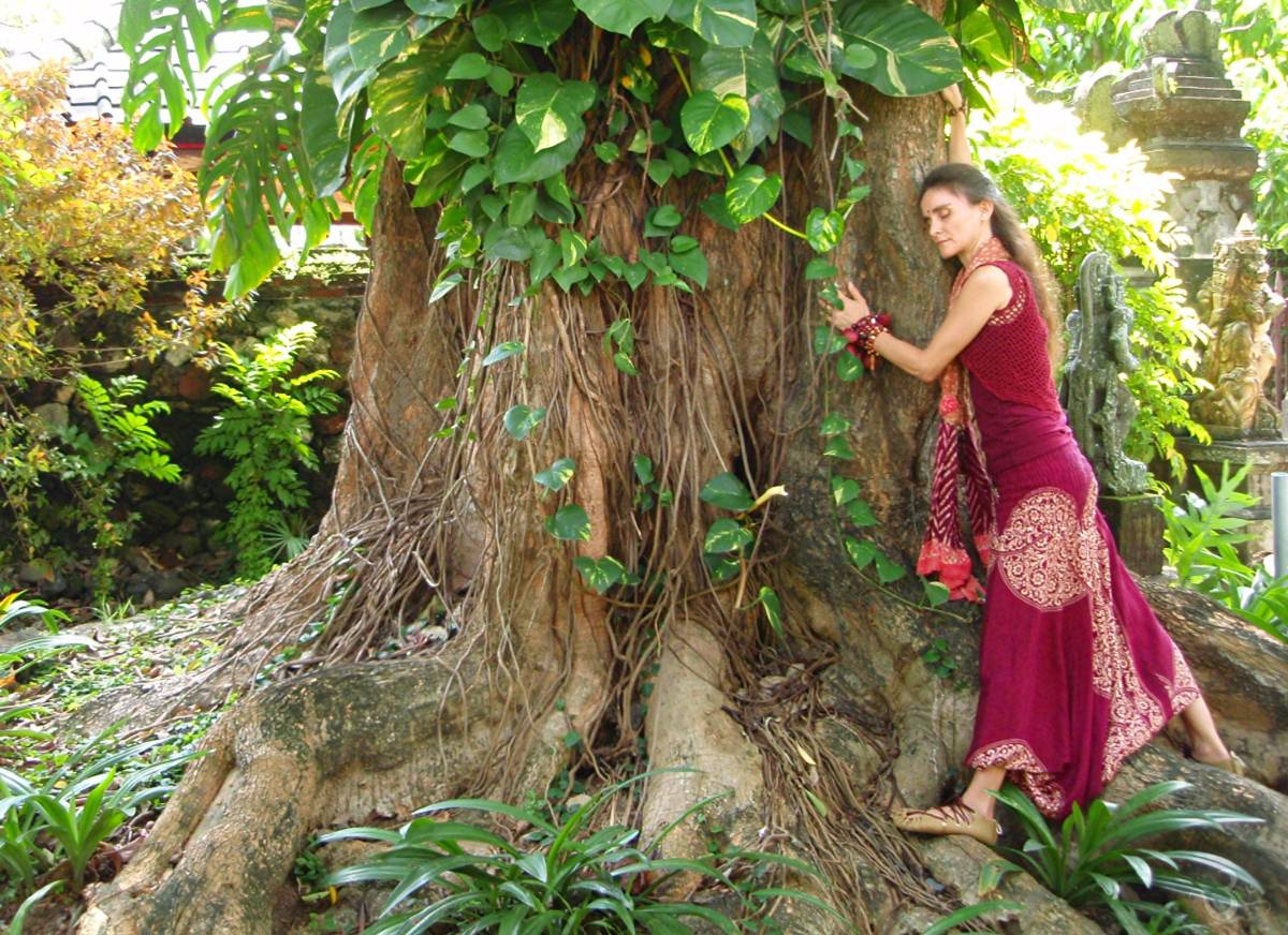 SADHANA hugging a tree